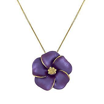 Eternal Collection Pansy Purple Enamel Flower Gold Tone Pendant Necklace