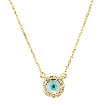 Evil Eye Mother of Pearl Necklace CZ Gold Statement Chain Gemstone Charm 925