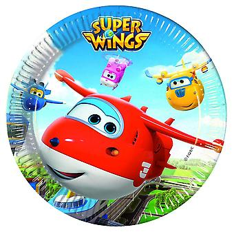 Super wings aircraft Jet party plates Ø 23 cm 8 piece children birthday theme party