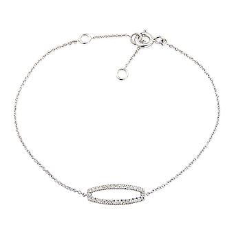 Jewelco London 9ct White Gold Pave Diamond Oval Frame Plate Necklace 15x5.5mm 17