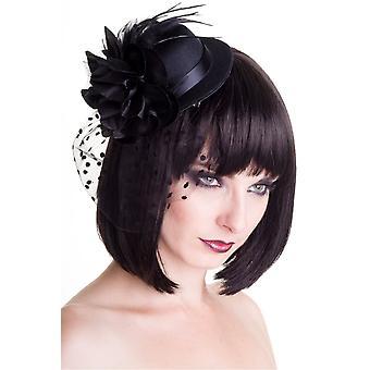 Verbotene Vintage große schwarze Fascinator Hut