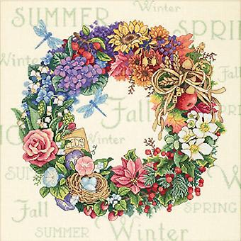 Gold Collection Wreath Of All Seasons Counted Cross Stitch K 14