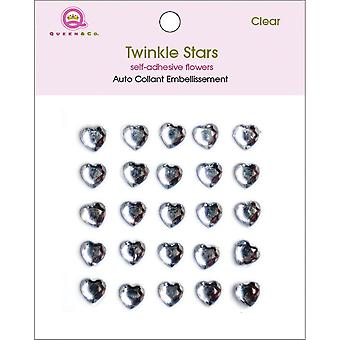 Twinkle Self Adhesive 8Mm Embellishments 25 Pkg Hearts Clear 8Mmtw 106