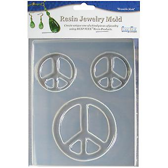 Resin Jewelry Mold 3 Cavity Peace Symbols 08 0619H