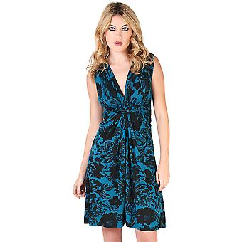 KRISP Flower Print Knot Front Dress