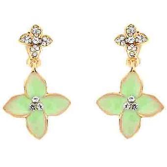 Clip On Earrings Store Lime Green Enamel Flower  and  Clear Crystal Clip On Earrings