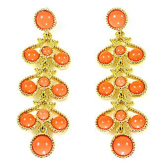 Kenneth Jay Lane Coral and Gold Chandelier Drop Earrings