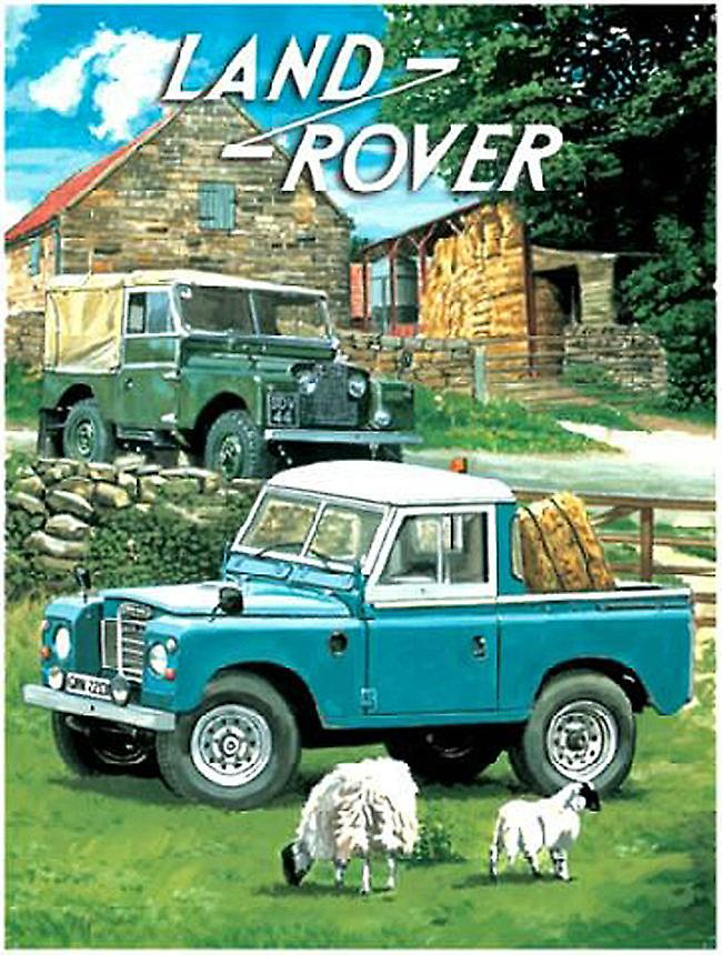 Land Rovers (2) with sheep small steel sign 200mm x 150mm (og)