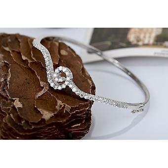 Affici 18ct White Gold Plated Sterling Silver Petite Sized Bangle with Swirl of Diamond CZ Gems