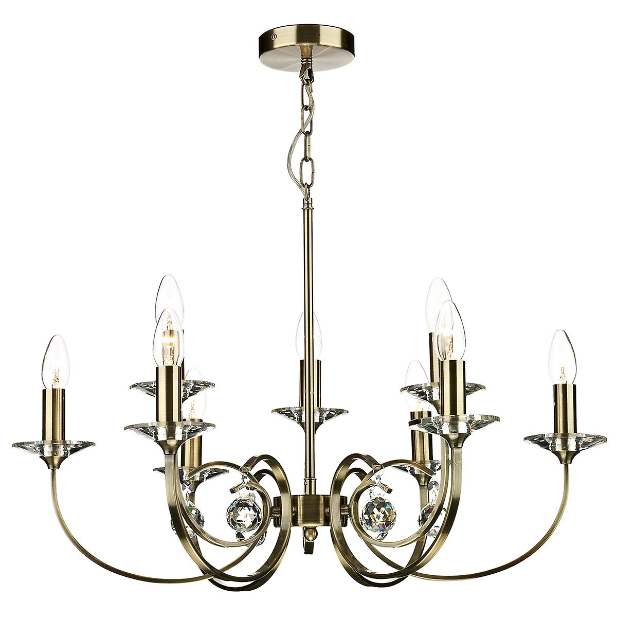 Dar ALL1375 Allegra 9 Arm Traditional Ceiling Pendant With Crystal Sconces