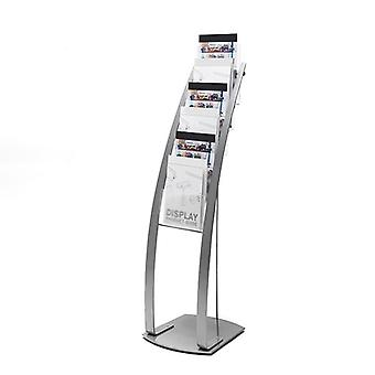 6 Pocket Silver A4 Brochure Stand - Floor Standing