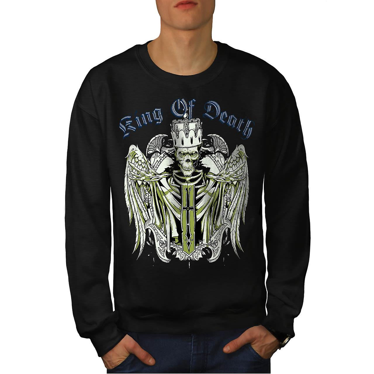 King Of Death Thrones Dead Skull Men Black Sweatshirt | Wellcoda