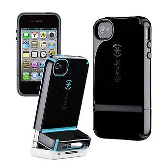 Speck Candyshell Flip cover, hard plastic and Silicone, for iPhone 4/4S (black + grey)