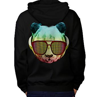 Music Fan Panda Bear Men Black Hoodie Back | Wellcoda
