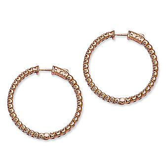 In zilver roze verguld met CZ ronde Hoop Earrings Hoop Earrings