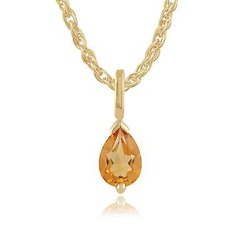 9ct Yellow Gold 0.51ct Citrine Single Stone Pendant on Chain