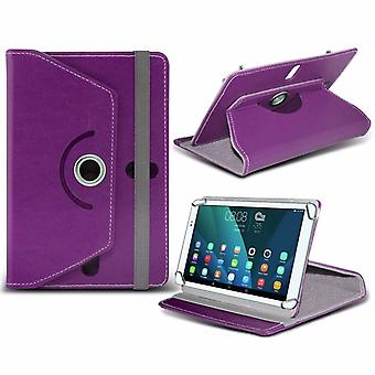 iTronixs - Samsung Galaxy Tab A 10.1 WiFi (10.1 Inch) Tablet Case PREMIUM PU 360 Rotating Leather Wallet Folio Faux 4 Springs Stand - Purple