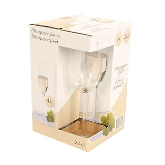 22cl Champagne Glasses Set of 4 Bar Drink Celebration Glassware