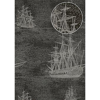 Graphic wallpaper Atlas SIG-584-2 non-woven wallpaper smooth in a maritime design and metallic accents anthracite blue grey silver gold 5.33 m2