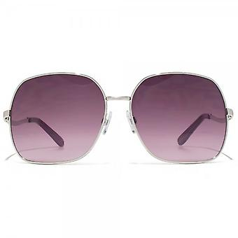 Carvela Metal Square Sunglasses In Shiny Silver