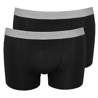 HANRO Costume Boxer di cotone 2-Pack Essentials, nero