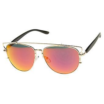 Modern Full Metal Crossbar Open Design Colored Mirror Aviator Sunglasses 58mm