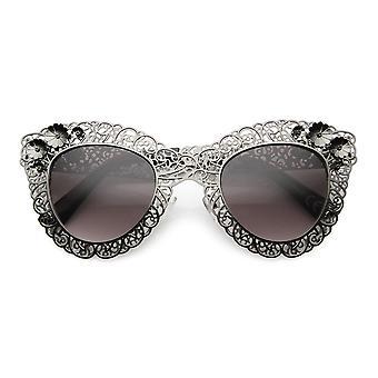 Women's High Fashion Oversized Metal Lace Ornate Cat Eye Sunglasses