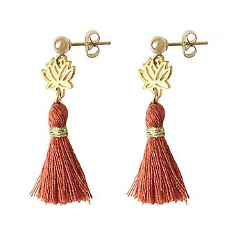 Ladies earrings 925 silver plated Lotus flower with red-brown tassel 4 cm