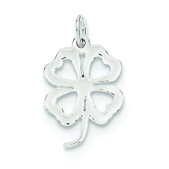 Sterling Silver Solid Polished Open back 4-Leaf Clover Charm - .8 Grams