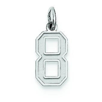 Sterling Silver Solid Polished and satin Small Satin Number 8 Charm - .4 Grams
