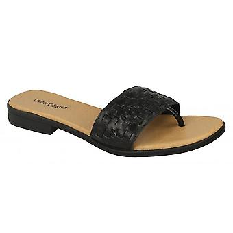 Leather Collection Womens/Ladies Leather Weave Mule Sandals