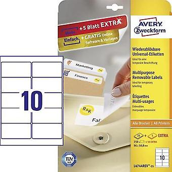 Avery-Zweckform L4744REV-25 Labels (A4) 96 x 50.8 mm Paper White 300 pc(s) Removable All-purpose labels Inkjet, Laser, C