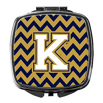 Letter K Chevron Navy Blue and Gold Compact Mirror