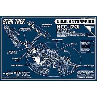 Star Trek Blueprint Enterprise Blueprint Poster Poster Print