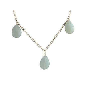 Gemshine - ladies - necklace - gold plated - aquamarine - drops - blue - green - 50 cm - length adjustable