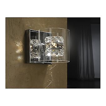 Schuller Modern Chrome Flash Wall Lamp With Crystal Cup