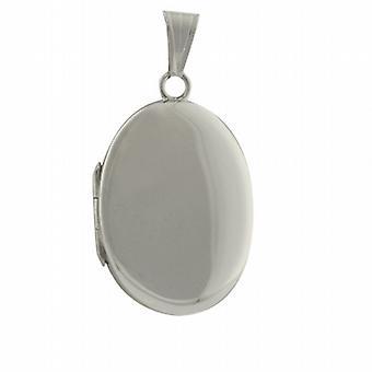 9ct White Gold 27x20mm plain oval Locket