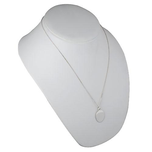 Silver 27x21mm plain oval Disc with a curb Chain 22 inches