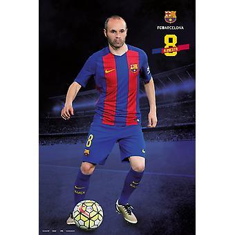 Fc バルセロナ 20162017、イニエスタ ポーズ ポスター ポスター印刷