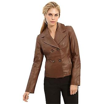 Womens Carrie 4 Button Lambskin Leather Jacket