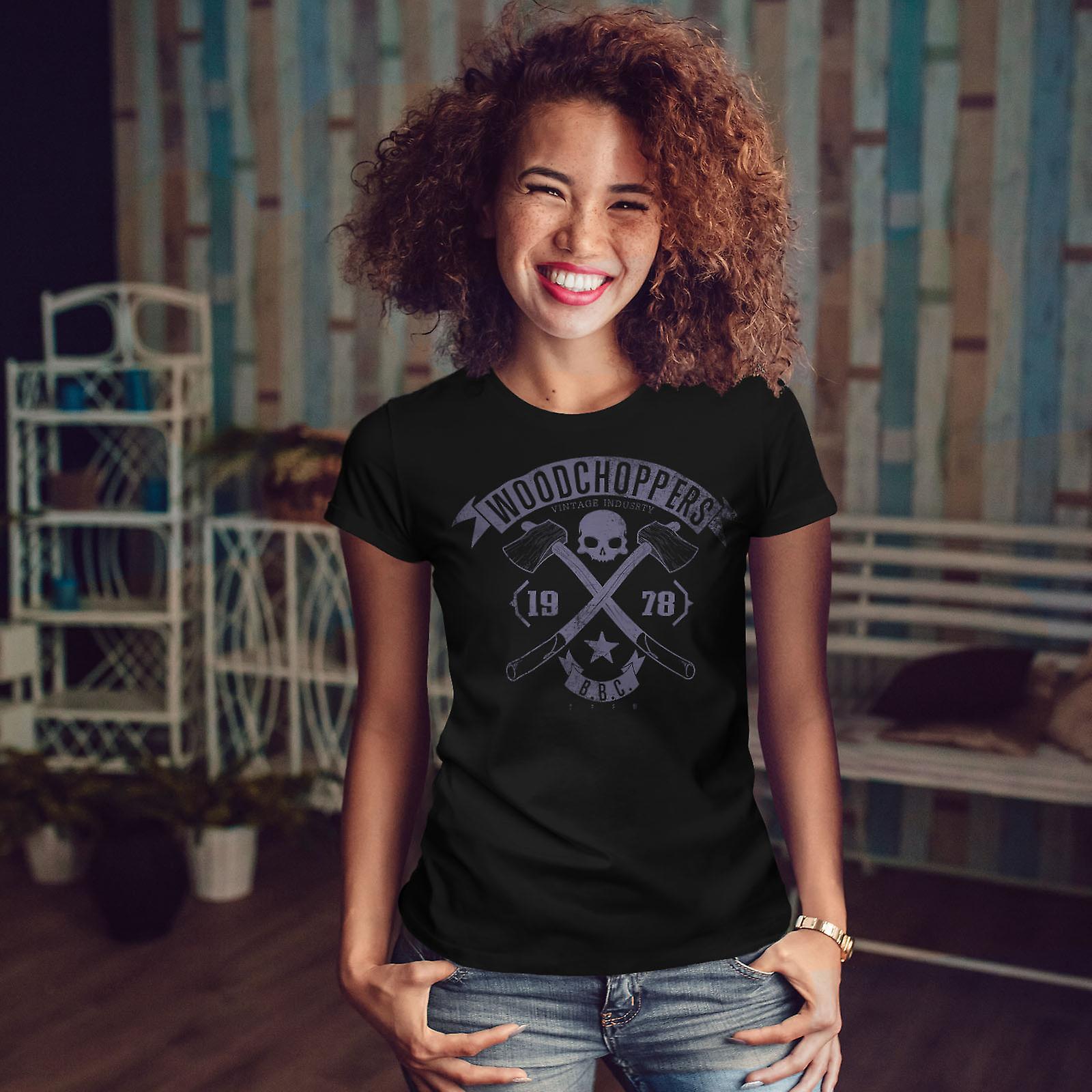 Woodchoppers Club Women BlackT-shirt | Wellcoda
