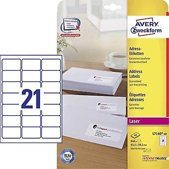 Avery-Zweckform L7160-40 Labels (A4) 63.5 x 38.1 mm Paper