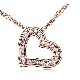 Womens Rose Gold Love Heart Pendant Necklace With Crystal Stones