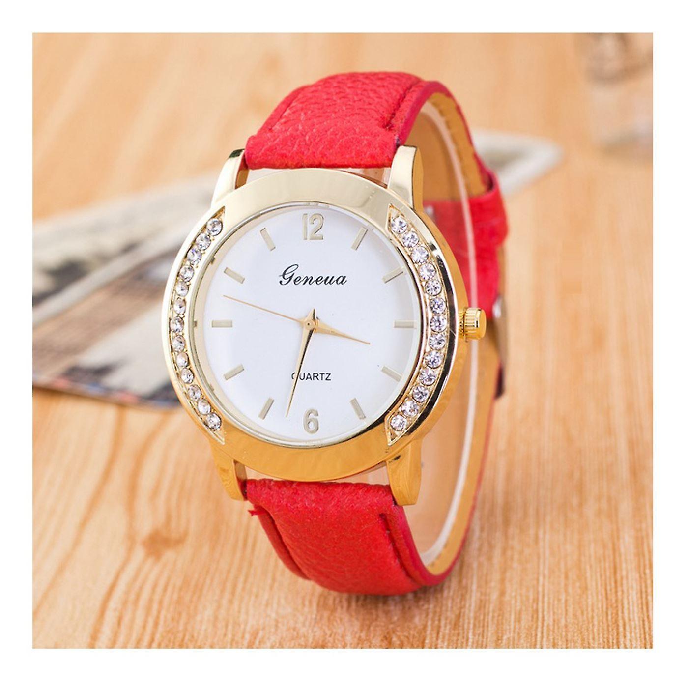 Gold Geneva Red Watch Ladies Girls Fashion Watches