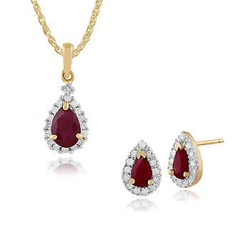 Gemondo 9ct Yellow Gold Ruby & Diamond Cluster Stud Earrings & 45cm Necklace Set
