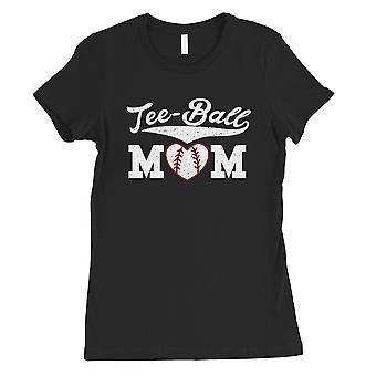 Tee-Ball Mom Womens Black Cotton Tee Mother's Day Gift Tee Shirt