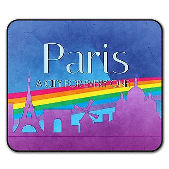 Orgullo amor urbano París ratón antideslizante alfombra Pad 24 cm x 20 cm | Wellcoda