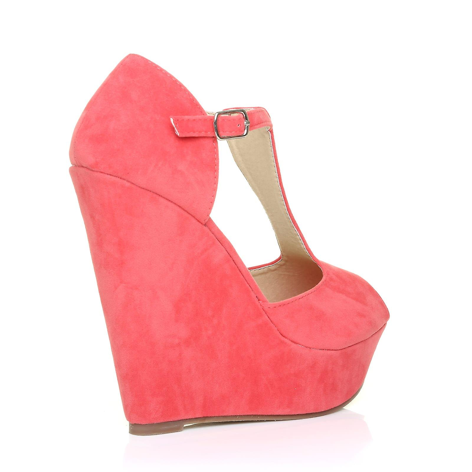f41244351d6e VICKY Coral Faux Suede T-Bar Peep Toe Platform Wedge Sandals