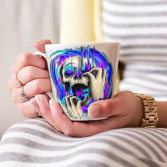 死色スカル ホワイト ティー コーヒー セラミック カフェラテ マグカップをファッション 17 oz |Wellcoda