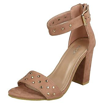 427dcca3367 Ladies Spot On Mid Chunky Heel Sandals F108641 - Dusty Pink Gold Microfibre  - UK